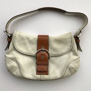 Coach White and Brown Soho Flap Bag #9248